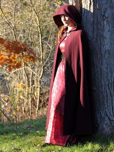 HalfCircle Wool Cloak  Red by chrononautmercantile on Etsy, $250.00