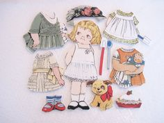Child's  Fabric Paper Doll playset  travel by KellettKreations