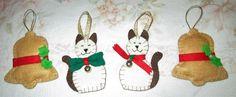 Campanelle e gattini per l'albero di Natale fatti a mano