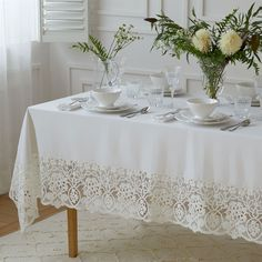 Embroidered lace tablecloth