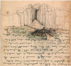 """""""Helm's Deep & the Hornburg"""" Tolkien doodled on almost anything he could get his hands on. Here, he drew this view of Helm's Deep, the fortress retreat of the Rohirrim people, on a half-used page of an Oxford examination booklet.  COURTESY OF THE BODLEIAN LIBRARIES, UNIVERSITY OF OXFORD"""
