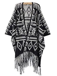 Tassel Batwing Sleeve Cloak Coat Poncho Cape Knit Sweater