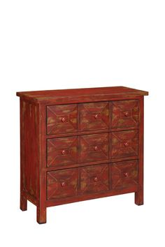"Furniture Inspiration:   Stylish Accents  Three Drawer Chest - Red and Brown  $725.00     About this item  Add an element of stylish organization to your home with this distressed finished 3-drawer chest.  - Red and brown finish  - 3 drawers with 3 handles each  - 36"" W x 14"" D x 34.25"" H  - Imported"