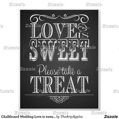 Chalkboard Wedding Love is sweet Print