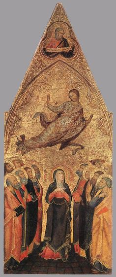 ANDREA di Vanni d'Andrea / Ascension of Christ / Tempera on wood, 68 x 28 cm The Hermitage, St. Medieval Paintings, European Paintings, Catholic Art, Religious Art, Sainte Catherine, Blessed Mother Mary, Tempera, Sacred Art, Museum Of Fine Arts