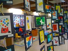 Art Preschool art display- good idea if you have space.