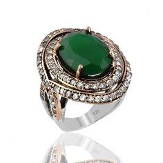 Plata auténtica joyería del anillo otomano
