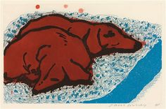 David Hockney, 'Small Dogs' Etching and aquatint printed in colours, 1995.