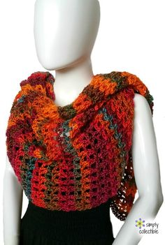 "Coraline in Rio Crochet Wrap ~ easy ~ approx. 70"" ~ FREE CROCHET pattern ~ light, airy, refreshing ~ colours of the sunset"