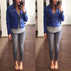 Blue Moto Jacket Faux leather cobalt blue jacket. This jacket is a great statement piece worn over neutral colors. Worn one time, like new Forever 21 Jackets & Coats