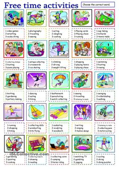 free time activities worksheet - Free ESL printable worksheets made by teachers - Activities for teens Teaching Vocabulary, English Vocabulary, English Grammar, Free Preschool, Preschool Activities, English Lessons, Learn English, Freetime Activities, Vocabulary Exercises