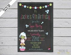 Spa Chalkboard 5x7 invitation by KarinakdDesigns on Etsy