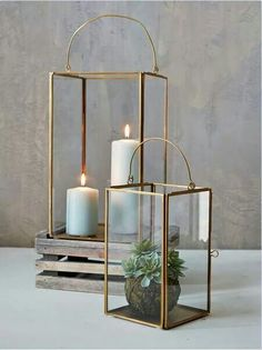 Brass Box Lanterns | Nordic House