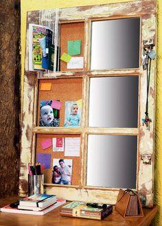 A janela de demolição foi montada com espelho, cortiça e cordões. Fica ótima sobre uma bancada de estudos ou uma penteadeira