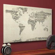 Old sheet music art map of the world, canvas, medium