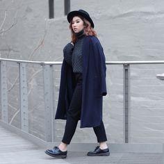 Ingrid Siadari - Aran Sweaters Direct Turtleneck Irish Knit Sweater, Dr. Martens 1461, Forever 21 Pinstripe Coat - Stay Toasty