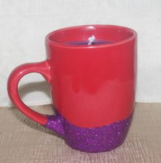 Red Coffee Mug with Purple Soy Candle Red by DancingWindDesigns