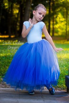 Smokey Blue Flower Girl Tulle Tutu