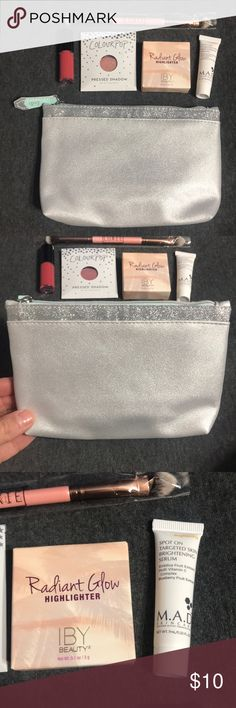 """NWT Beauty Bundle NWT Beauty Bundle. Bundle includes the following: *M.A.D. Skincare Spot On Targeted Skin Brightening Serum (0.23 fl oz) *IBY Beauty Radiant Glow Highlighter (0.1 oz) *Colour Pop Pressed Shadow in Come & Get It (0.05 oz) *Lancôme Matte Shaker Lipcolor in Peach Nude (0.1 fl oz)  *BareMinerals Prime Time Eyelid Primer (0.05 fl oz)  *Luxie Dual End Shadow Brush *Makeup bag - 7.25"""" wide by 5"""" tall *All products are new & have never been used *Items will be shipped promptly…"""