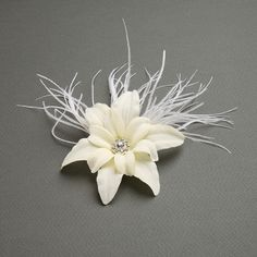 Silk Lily Flower Clip With Elegant Ostrich Feathers $44.00