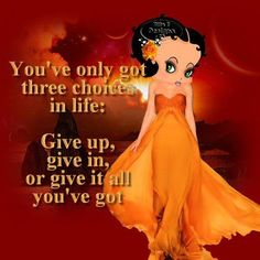 Give it all you got . Betty Boop Tattoos, Black Betty Boop, Betty Boop Pictures, Cartoon Characters, My Idol, Pin Up, Creations, Just For You, Animation
