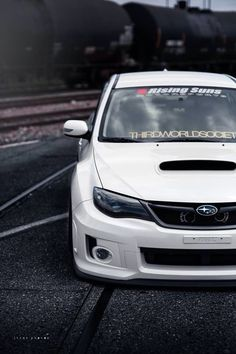 White Subaru STI