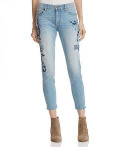 AQUA Floral Skinny Crop Jeans in Medium Blue - Exclusive Women -  Bloomingdale s e91ef082f