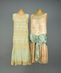 TWO SILK and LACE TEA DRESSES, 1920s.