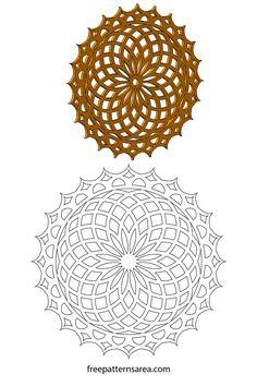Geometric Lotus Flower Mandala Craft Outline Pattern
