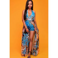 Blue Printed Halter Plunging V Neck Backless Sexy Skort Dress ($26) ❤ liked on Polyvore featuring dresses, chiffon maxi skirts, orange maxi skirt, maxi skirts, v-neck maxi dresses and blue dress