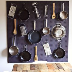 A pegboard in the kitchen is the perfect solution for organizing all those oddly shaped gadgets and tools.
