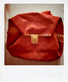 Petit sac façon bourse en cuir et tissu écossais By Julie PIERRE DIT LEMARQUAND