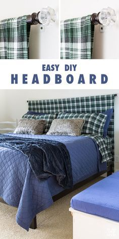 Get Guest Room Ready: Easy headboard to make for any bed. DIY headboard to make in under 15 minutes. Get Guest Room Ready: Easy headboard to make for any bed. DIY headboard to make in under 15 minutes. Diy Home Decor Rustic, Diy Home Decor Bedroom, Teen Room Decor, Bedroom Ideas, Tv Decor, Wall Decor, Cheap Diy Headboard, Diy Headboards, Headboard Ideas
