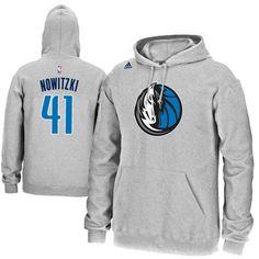 Dirk Nowitzki Dallas Mavericks adidas Name & Number Pullover Hoodie – Gray - $69.99