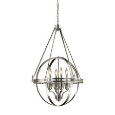 This dynamic series utilizes the simple geometric shape of circles to form an architectural styled sphere. The crafted metalwork and elegant suspension rods are finished in polished nickel.