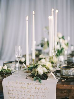 Calligraphy Table Runner / Styling & Design: Birds & Honey Photography: Milton Photography Florals: Akiko Floral