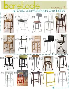 Looking for the perfect barstool for your kitchen, island, bar? Here are some great examples of different styles.