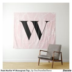 Pink Marble W Monogram Tapestry Marble Tapestry, Pink Marble, Christmas Card Holders, Bed Spreads, Vivid Colors, Hand Sewing, Picnic Blanket, Accent Chairs, Monogram