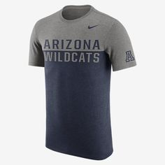 REPRESENT YOUR TEAM The Nike College Tri Resurge (Arizona) Men's T-Shirt features bold color-blocking and proud school print on super-soft fabric for a loyal look and lasting comfort. Product Details Rib crew neck with interior taping Fabric: 50% polyester/25% cotton/25% rayon Machine wash Imported