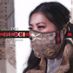 Gucci Face Mask DIY - How to make a face mask out of your Gucci baseball cap. Click the link for the full tutorial! Diy Mask, Diy Face Mask, Full Face Mask, Mascarilla Diy, Mouth Mask Fashion, Diy Clothes Videos, Diy Videos, Gucci, Disposable Gloves