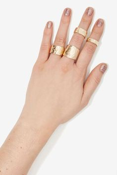 Hands Off Textured Ring Set