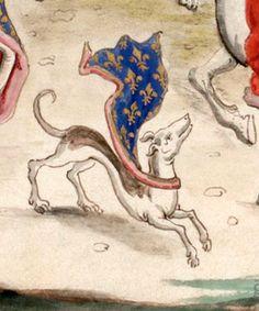"""Chien à la cape armoriée (détail). -- Réception de la reine d'Angleterre Isabeau de France par son frère Charles IV, dit le Bel, entre 1308 et 1328. Dessin d'une miniature des """"Chroniques de Froissart"""", Ms. fr 2643 (Gaignières 245)."""