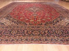 673 10x13 Kashan Persian Hand Knotted Wool Red Navy 9'6x12'5 Rug