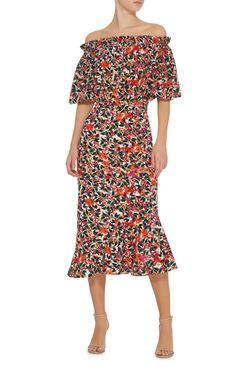 Grace Off The Shoulder Printed Dress by SALONI Now Available on Moda Operandi