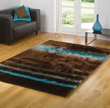 Large Soft Silky Deluxe Shaggy Brown Blue Rug in 2x5, 3x5, 5x7 Carpet