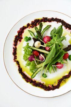 Lola Rosa, Asparagus, Fava Bean, and Radish Salad with Crushed Mulberry and Basil Vinaigrette