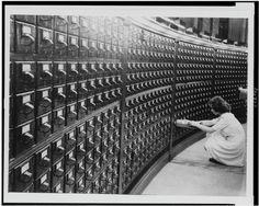 Woman at Main Reading Room Card Catalog