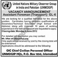 Assistant Foreman (Transport) Required in United Nations Islamabad