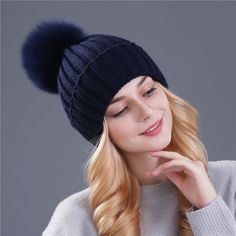 b4bf987d108 Xthree real fox fur pom poms ball Keep warm winter hat for women girl  s  wool hat knitted beanies cap thick female cap