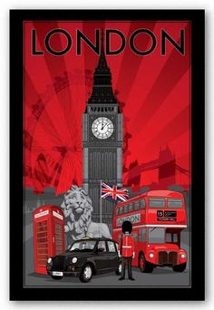 "London travel poster (Big Ben, telephone box, Union Jack, double-decker bus)-----and Tower Bridge and ""my"" beautiful Trafalgar lion! London has always been THE place for me. If I were to die without seeing it, I'd feel my life would be wasted. Poster S, Poster Prints, Art Print, Poster Collage, London Bus, London Icons, London City, Thinking Day, London Calling"